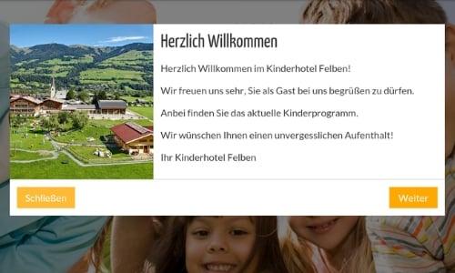 Push-Nachricht auf der digitalen Gästemappe: Beispiel Kinderhotel Felben