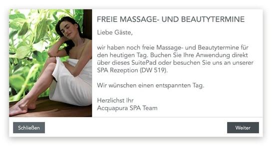 Push-Nachricht des Falkensteiner Balance Resort Stegersbach an seine Hotelgäste