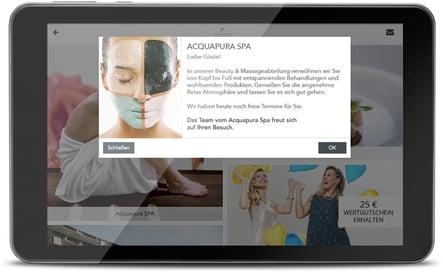Push-Nachricht des Falkensteiner Balance Resort Stegersbach versendet über die digitale Gästemappe von SuitePad