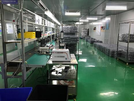 The assembly line at the SuitePad factory in Shenzhen, China