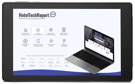 SuitePad 8 with the HotelTechReport page viewing on the screen