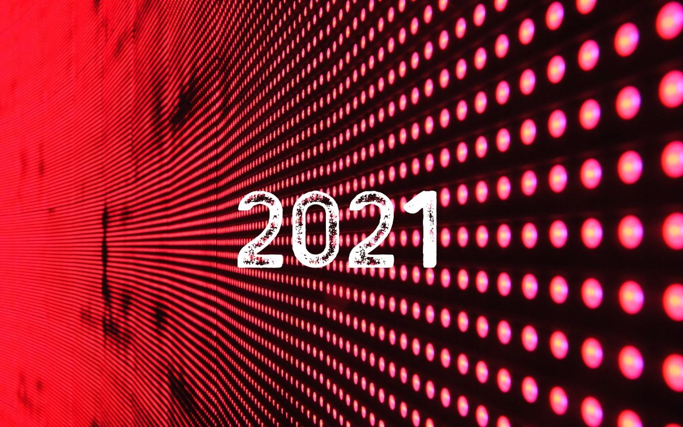 Roter Tech Hintergrund mit der Zahl 2021